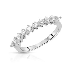 Jewelry - 925 Sterling Silver CZ Princess Band Ring